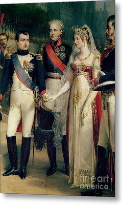 Napoleon Bonaparte Receiving Queen Louisa Of Prussia Metal Print by Nicolas Louis Francois Gosse