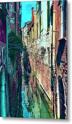 Narrow Water-street Of Medieval Venice Metal Print by George Westermak