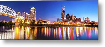 Nashville Night Skyline Panorama Metal Print