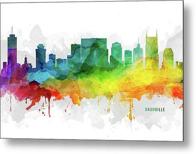 Nashville Skyline Mmr-ustnna05 Metal Print by Aged Pixel