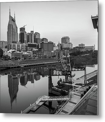 Nashville Skyline - Square Format - Black And White Metal Print