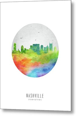 Nashville Skyline Ustnna20 Metal Print by Aged Pixel