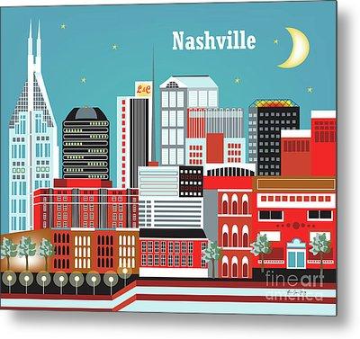 Nashville Tennessee Horizontal Skyline Metal Print by Karen Young