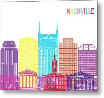 Nashville V2 Skyline Pop Metal Print by Pablo Romero