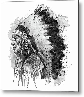 Native American Chief Side Face Black And White Metal Print