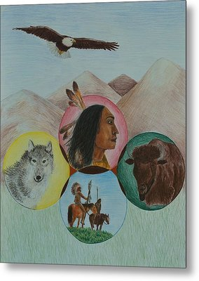 Native American Circle Of Life Metal Print by Jessica Hallberg