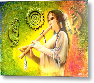Native American Flute Player Metal Print by Amatzia Baruchi