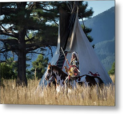 Native American In Full Headdress In Front Of Teepee Metal Print by Nadja Rider