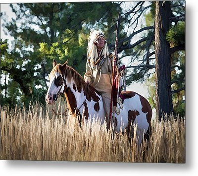 Native American In Full Headdress On A Paint Horse Metal Print