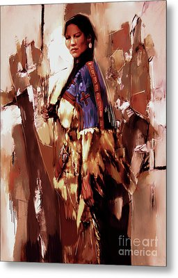 Native American Lady 03  Metal Print by Gull G