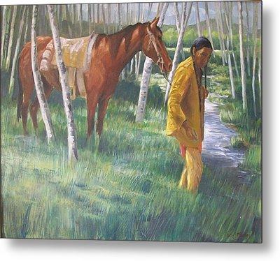 Native American Leading Horse Metal Print