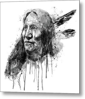 Metal Print featuring the mixed media Native American Portrait Black And White by Marian Voicu