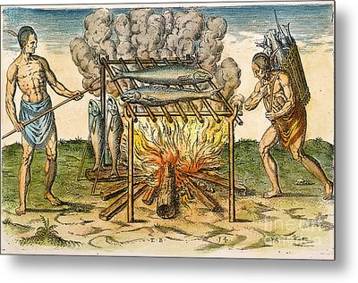 Native Americans: Barbecue, 1590 Metal Print by Granger