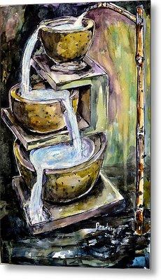 Natural Fountain And Bamboo Faucet  Metal Print