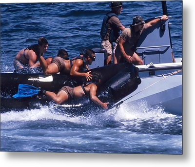 Navy Seals Practice High Speed Boat Metal Print by Michael Wood