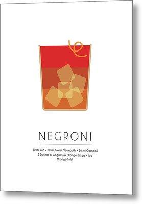 Negroni Classic Cocktail - Minimalist Print Metal Print