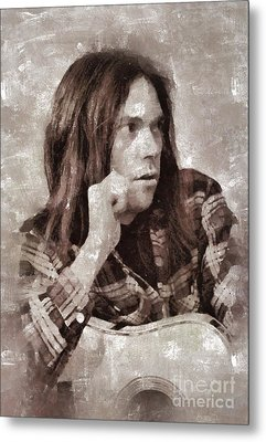 Neil Young By Mary Bassett Metal Print