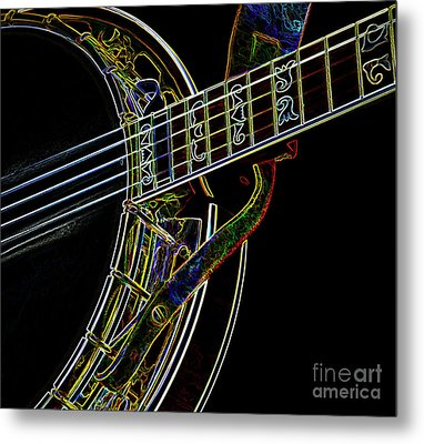 Metal Print featuring the photograph Neon Banjo  by Wilma Birdwell