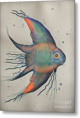 Metal Print featuring the mixed media Neon Blue Fish by Walt Foegelle