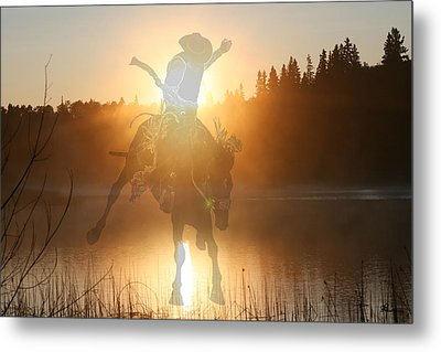 Neon Cowboy Metal Print by Andrea Lawrence