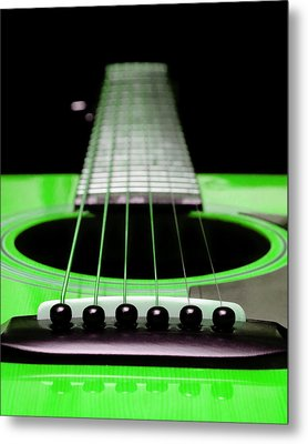 Neon Green Guitar 18 Metal Print by Andee Design