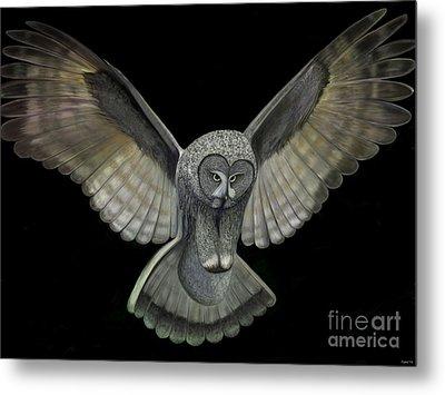 Neon Owl Metal Print by Rand Herron