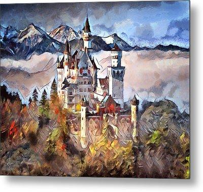 Metal Print featuring the digital art Neuschwanstein Castle by Pennie McCracken