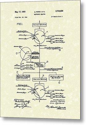 Neutronic Reactor Fermi And Szilard 1955 Patent Art Metal Print by Prior Art Design