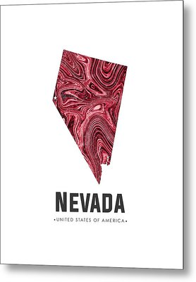 Nevada Map Art Abstract In Deep Red Metal Print