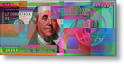New 2009 Series Pop Art Colorized Us One Hundred Dollar Bill  No. 3 Metal Print by Serge Averbukh