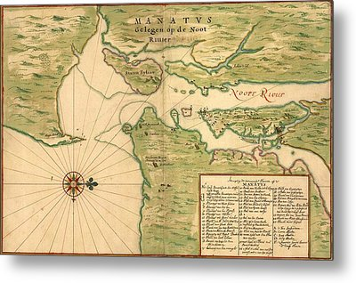 New Amsterdam In 1639. Earliest Map Metal Print by Everett