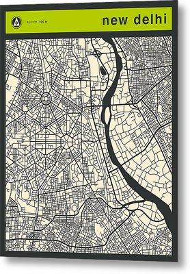 New Delhi Street Map Metal Print by Jazzberry Blue