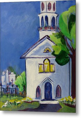New England Church Metal Print by Betty Pieper