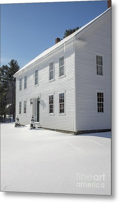 New England Colonial Home In Winter Metal Print by Edward Fielding