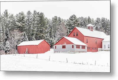 New England Farm With Red Barns In Winter Metal Print