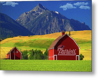 Metal Print featuring the photograph New England Patriots Barn by Movie Poster Prints