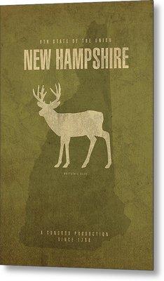 New Hampshire State Facts Minimalist Movie Poster Art Metal Print