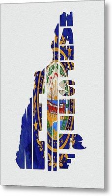 New Hampshire Typography Map Flag Metal Print