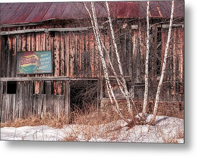 Vintage Winter Barn Metal Print