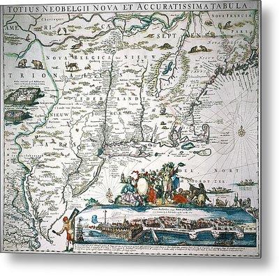 New Netherland Map Metal Print by Granger
