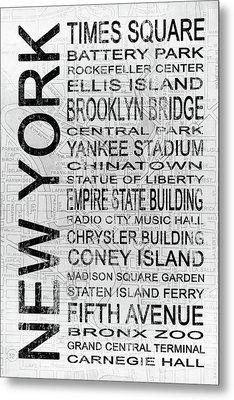New York 1 White Subway Metal Print by Melissa Smith