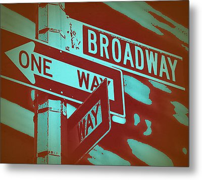 New York Broadway Sign Metal Print by Naxart Studio