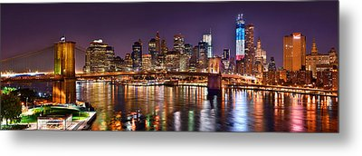 New York City Brooklyn Bridge And Lower Manhattan At Night Nyc Metal Print by Jon Holiday