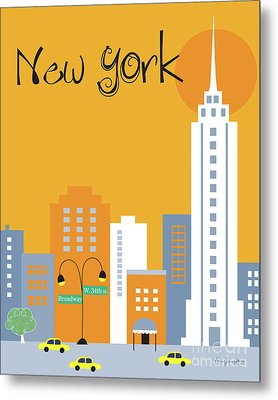 New York City Vertical Skyline - Empire State At Dawn Metal Print