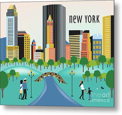 New York Horizontal Skyline - Central Park Metal Print by Karen Young