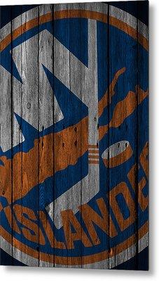 New York Islanders Wood Fence Metal Print