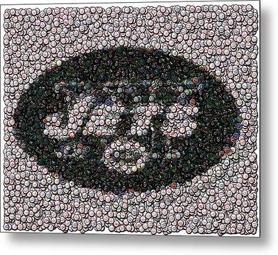 New York Jets Bottle Cap Mosaic Metal Print
