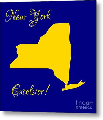 New York Map In State Colors Blue And Gold With State Motto Excelsior Metal Print by Rose Santuci-Sofranko