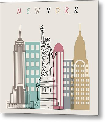 New York  Minimal  Metal Print by Mark Ashkenazi