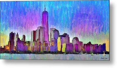 New York Skyline 2 - Pa Metal Print by Leonardo Digenio